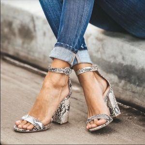 Python Ankle Strap Heeled Sandal